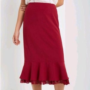High waisted red skirt with lace